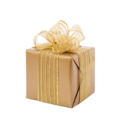 whitw: Gold gift with ribbon and bow. Present isolated on whitw background