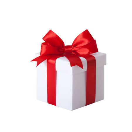 whitw: Gift box with red ribbon and bow. Present isolated on whitw background