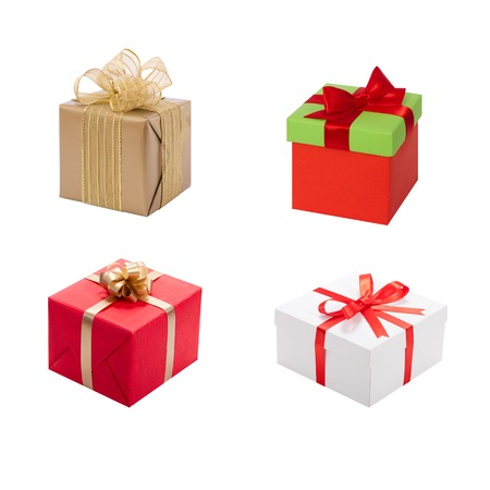Gift box with ribbon and bow. Present isolated on whitw background Stock Photo