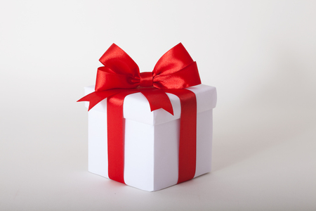 whitw: Gift box with ribbon and bow. Present isolated on whitw background Stock Photo