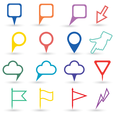 pointers: Set of map pointers. Navigation pointers collection. Set of isolated pointers and markers different shapes Illustration