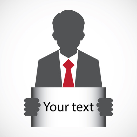 layer mask: Businessman, in suit man, holding blank banner. Flat design with full head of character in clipping mask layer.