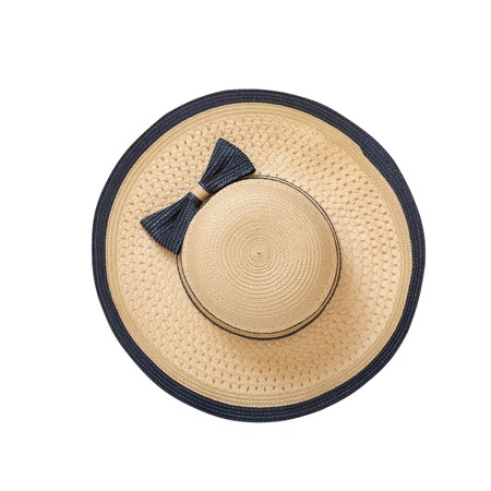 sunhat: Pretty straw hat with ribbon and bow on white background. Beach hat close up top view isolated