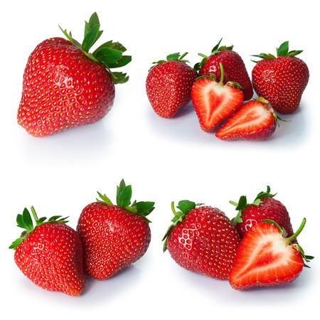 イチゴの果実からセットをクローズ アップ。白で隔離 写真素材 - 55654386