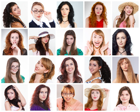 mixed age: Diverse people woman. Collage of diverse mixed age people expressing different emotions. Set Stock Photo