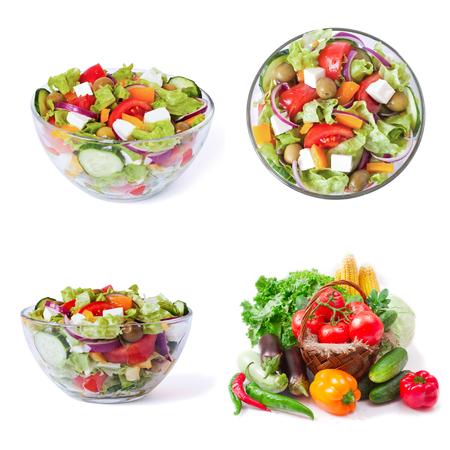 Greek Salad closeup isolated on white background