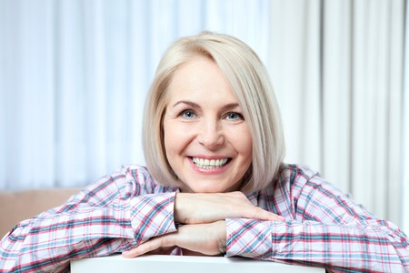 closeup portrait of elegant middle aged woman 写真素材