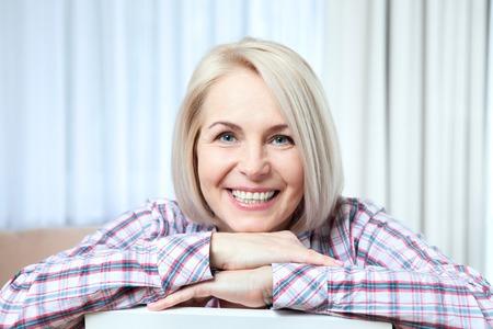 closeup portrait of elegant middle aged woman Foto de archivo