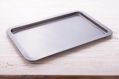 空天板ホワイト木製机の上を水平にトップ ビューを閉じます。 写真素材