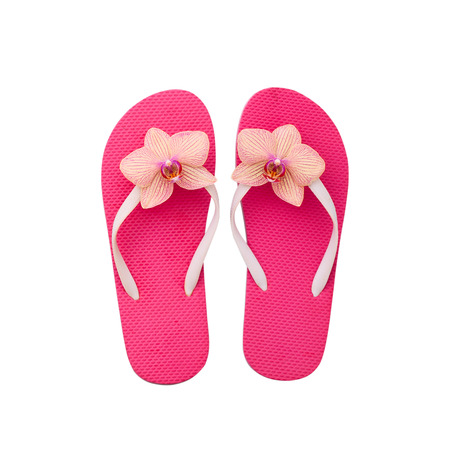 Flip flops close up isolated on white