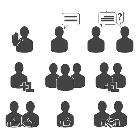 relating: Abstract people icons set. Vector illustration of a communication concept, relating to feedback, reviews and discussion.