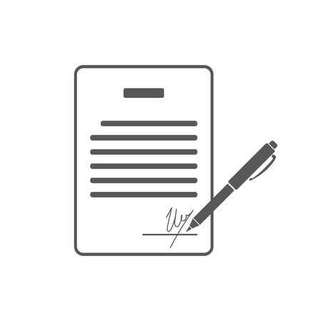 pacto: Business contract with signature. Agreement, pact, accord, convention symbol. Flat Vector illustration