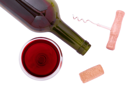 Red Wine bottle and glass on isolated white background. Unusually top view.
