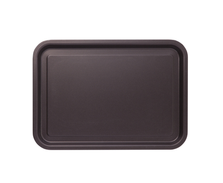 Empty baking tray for pizza close up top view isolated square. Mock up for design