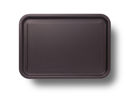 Empty baking tray with shadow for pizza close up top view isolated square. Mock up for design Stock Photo