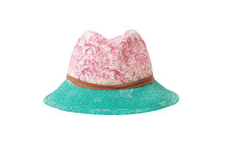 Pretty straw hat with ribbon and bow on white Standard-Bild - 125305991