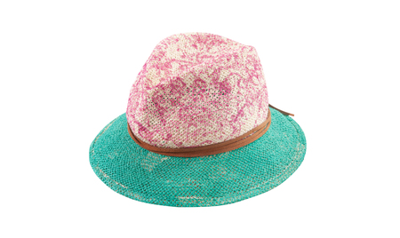 Pretty straw hat with ribbon and bow on white Standard-Bild - 125305989