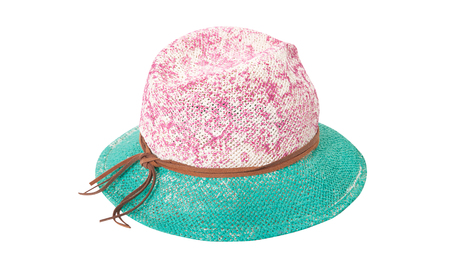 Pretty straw hat with ribbon and bow on white Standard-Bild - 125305988