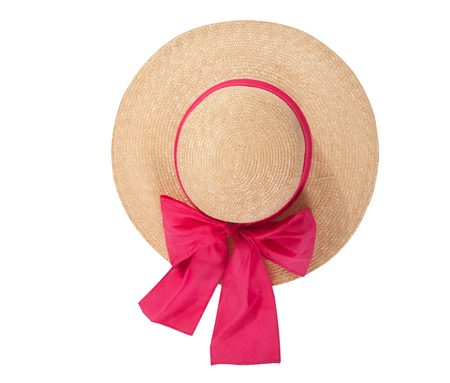 Pretty straw hat with ribbon and bow on white Standard-Bild - 125306037