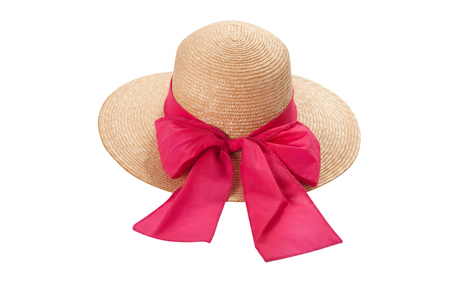 Pretty straw hat with ribbon and bow on white Standard-Bild - 125306038