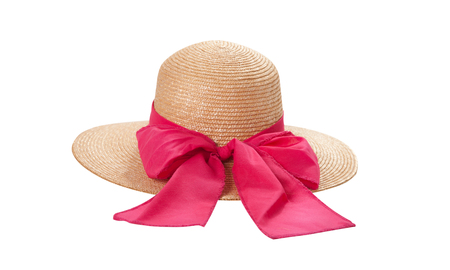 Pretty straw hat with ribbon and bow on white Standard-Bild - 125306041