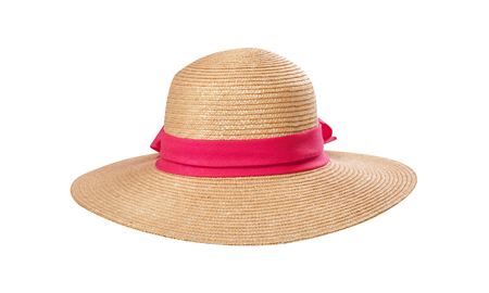 Pretty straw hat with ribbon and bow on white Standard-Bild - 125306039