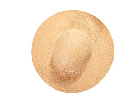 Pretty straw hat with ribbon and bow on white