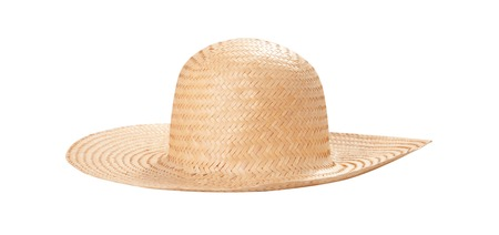 Pretty straw hat with ribbon and bow on white Standard-Bild - 125306040