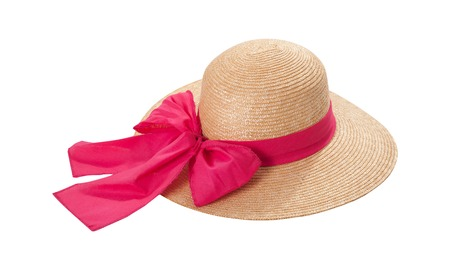 Pretty straw hat with ribbon and bow on white Standard-Bild - 125306045