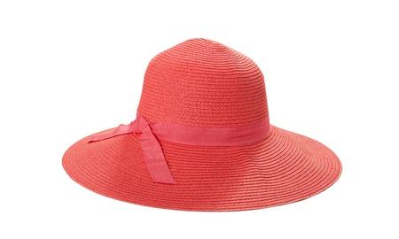 Grazioso cappello di paglia con nastro e fiocco su bianco