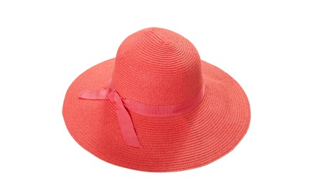 Pretty straw hat with ribbon and bow on white Standard-Bild - 125306047