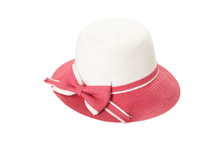 Pretty straw hat with ribbon and bow on white Standard-Bild - 125306053