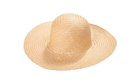Pretty straw hat with ribbon and bow on white Standard-Bild - 125306020