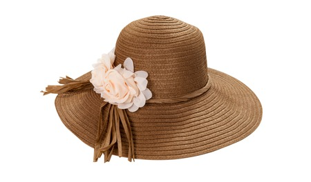 Pretty straw hat with ribbon and bow on white Standard-Bild - 125306021