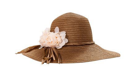 Pretty straw hat with ribbon and bow on white Standard-Bild - 125306024