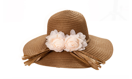 Pretty straw hat with ribbon and bow on white Standard-Bild - 125306025