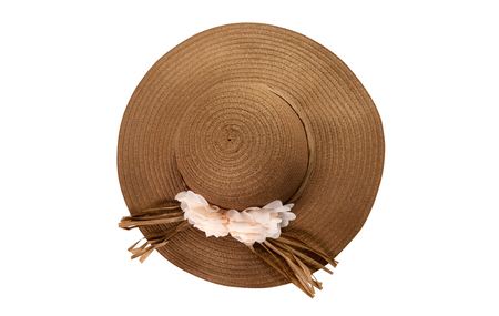 Pretty straw hat with ribbon and bow on white Standard-Bild - 125306026
