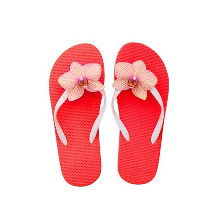 Red flip flops isolated on white. Top view and copy space Standard-Bild - 129144124