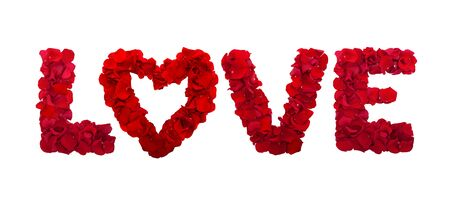 Love letters from petals of red roses on white background isolated horizontally. Flowers panorama Standard-Bild - 139660125