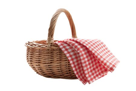 Red napkin and picnic basket isolated on white. Mockup Standard-Bild - 139675331