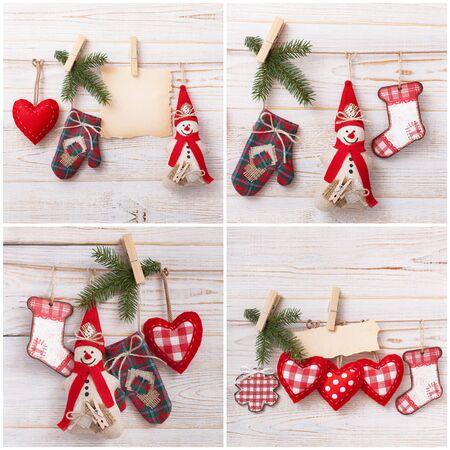 Christmas decoration background. Christmas tree and holidays ornament. Set