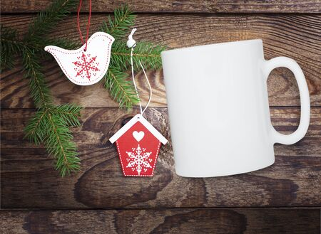 Winter mug mockup, blank white cup. Christmas background. Top view