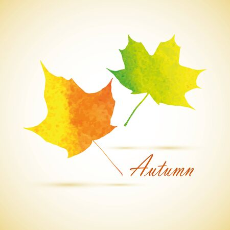 Orange watercolor painted leaves vector for greeting card template