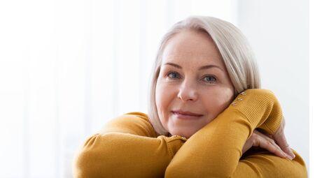 Portrait of beautiful senior woman at home.