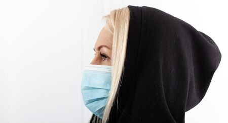 Face of a woman wearing a mask. Concept coronavirus, respiratory virus and Air pollution.