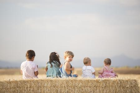 Children in the wheat field Stock Photo