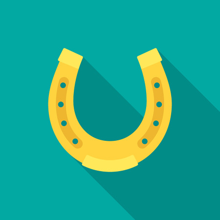 Horseshoe icon with long shadow. Flat design style. Modern flat icon in stylish colors. Web site page and mobile app design element.