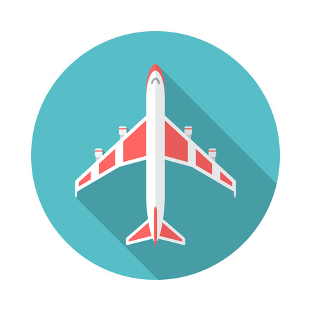 Airplane icon with long shadow. Flat design style. Round icon. Airplane silhouette. Simple circle icon. Modern flat icon in stylish colors. Web site page and mobile app design vector element.