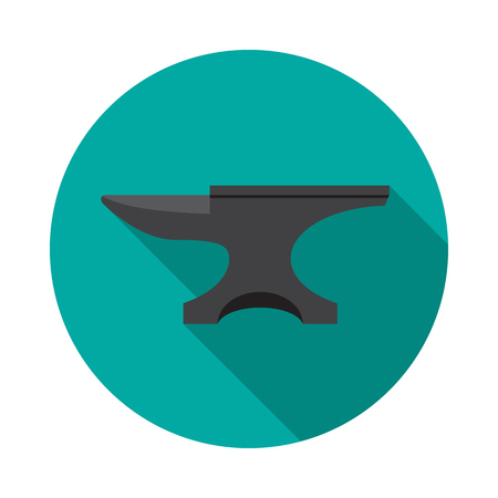Anvil circle icon with long shadow. Flat design style. Anvil simple silhouette. Modern, minimalist, round icon in stylish colors. Web site page and mobile app design vector element. Illustration