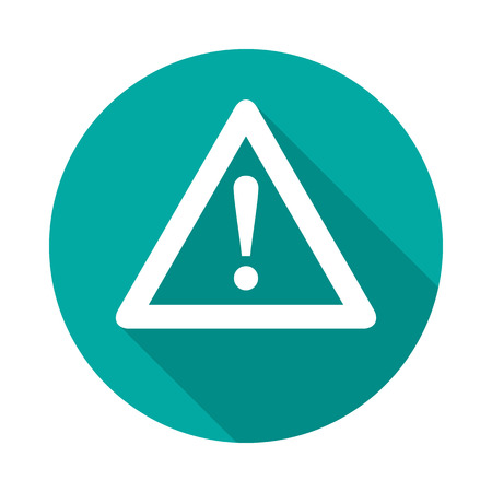 Attention circle icon with long shadow. Flat design style. Warning simple silhouette. Modern, minimalist, round icon in stylish colors. Web site page and mobile app design vector element.
